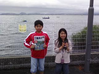 琵琶湖にて。